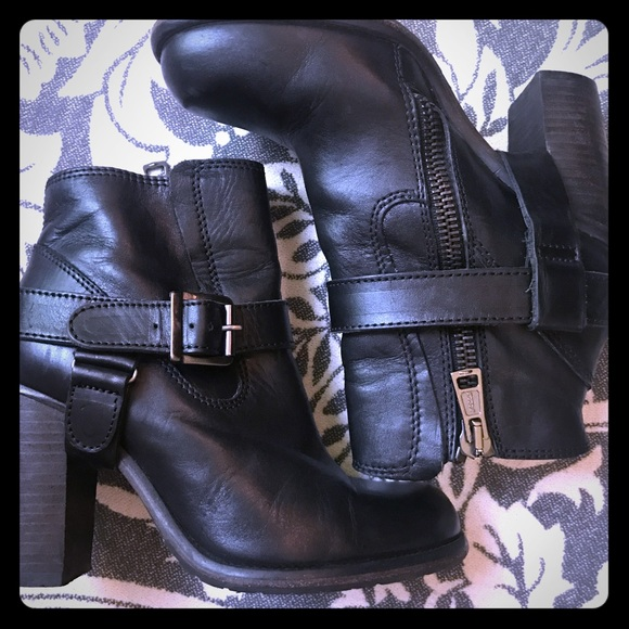 f600ba3382 All Saints Shoes | Allsaints Jules Heeled Black Moto Boot | Poshmark